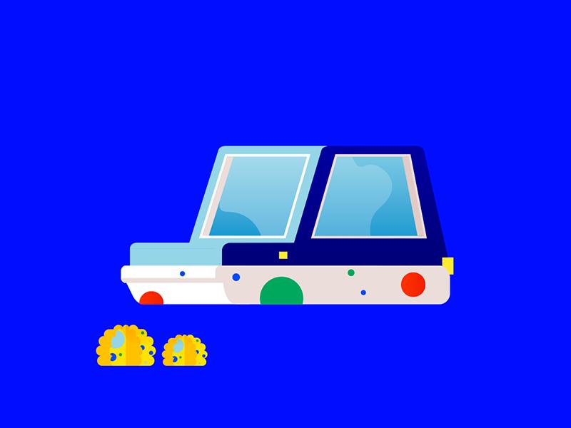 Bubble car illustration shapes car