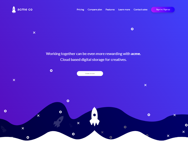 acme digital storage for creatives | Landing page user interface user interface design website design web design landing page design website