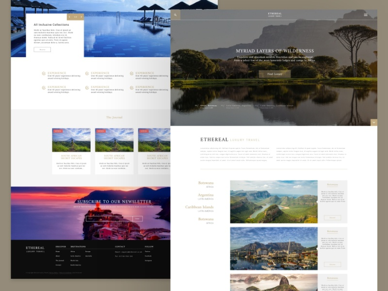 Ethereal Luxury Travel - User Interface Design user interface user interface design website design web design luxury travel design website ui travel luxury