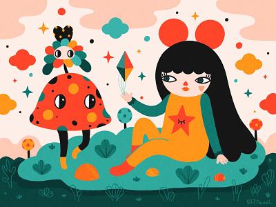 The Magic Stone whimsical popsurrealism procreate characterdesign digitalart colorful illustration