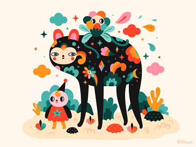 Walk with me vector characterdesign popsurrealism digitalart colorful illustration