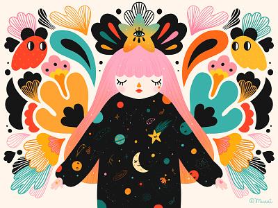 You are a star girl cosmic procreate digitalart illustration colorful