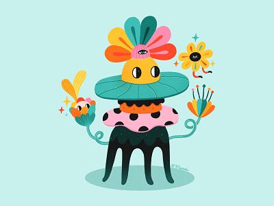 Fiorini character design flowers illustration floral digital art procreate illustration digitalart colorful