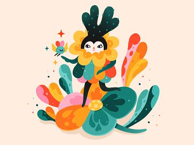 A magical encounter nature illustration digital procreate characterdesign colorful digitalart illustration