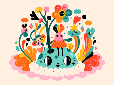 My morning star surreal colorfull flowers nature character design vectorart vector digital illustration