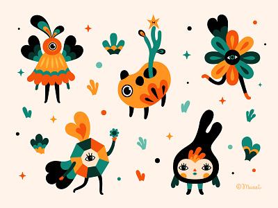 Forest Creatures I nature illustration digital colorful adobe illustrator vector characterdesign digitalart illustration