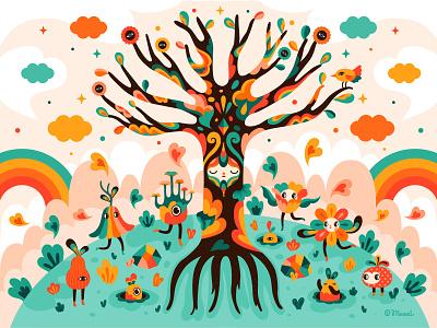 Flowering Tree springtime vectorart flower nature illustration characterdesign colorful adobe illustrator vector digitalart illustration