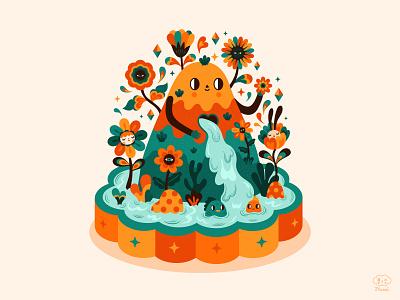 My little happy place mountain nature nature illustration adobe illustrator vector characterdesign digitalart colorful illustration