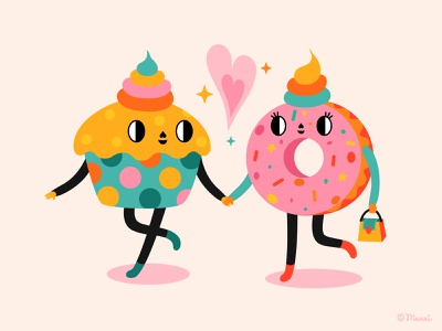 Sweet Love adobe illustrator food illustration food characterdesign vector colorful digitalart illustration