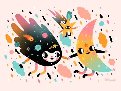 Friendships that lasts forever! colorful galaxy moon procreate digitalart illustration