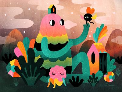 Thanks for being around! characterdesign digital art mixedmedia popsurrealism illustration colorful
