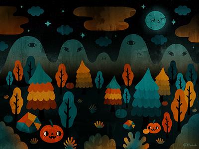 Happy Halloween  /|\ ^._.^ /|\ forest enchanted spooky animation halloween
