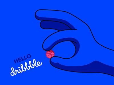Hello Dribbble! hand blue 0043ff first shots hello dribbble branding design illustration