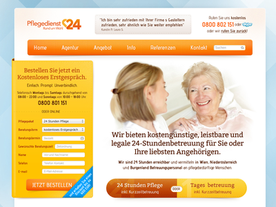 Pflegedienst24 home page home page healthcare form buttons navigation call to action