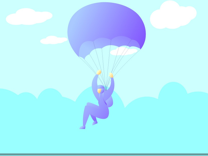 Skydiving skydiving flat vector flatillustration flat design dribbblers parachute design graphic