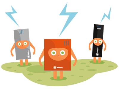 Jackery Homepage Illustration illustration jackery battery green orange black lightening