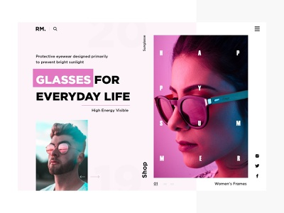 Sunglasses website glassware web online store branding typography website color ui sunglass minimal flat  design fashion eccomerce design concept bussines