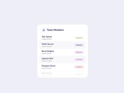 Team Members - List Style style list team ui userinterface design