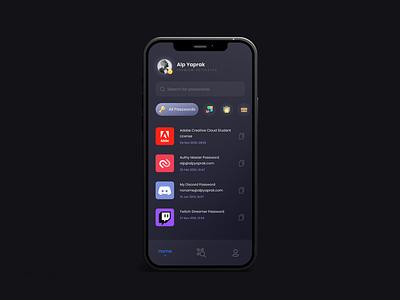 Password Concept - Home Screen daily dark ui design app password application uidesign ui home