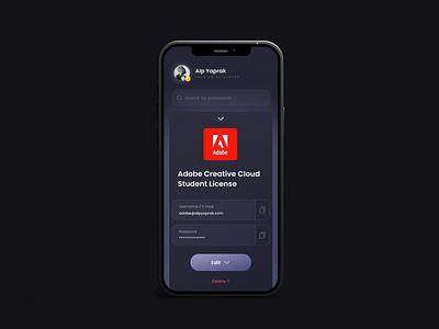Password Concept - Detail Screen visual application design application ui application dark ui user inteface userinterface ui design password