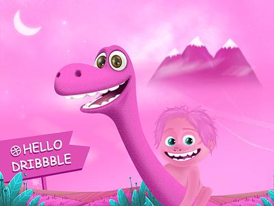 Hello  dribbble of charge take dinosaurs pink inset. inbetweening