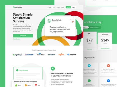 Simplesat Homepage Design bold simplesat lato colorful green flat homepage webapp