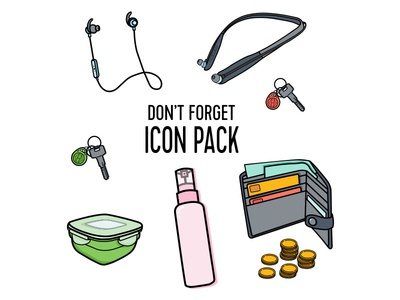 Don't Forget icon pack money wallet headphones food container body spray keys vector art illustrator cc icon set icons design vector illustration