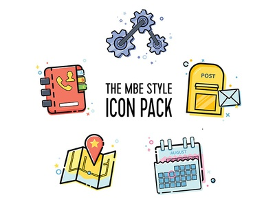 MBE Style Icon Pack Vol.2 maps calendar phone book email settings icons design icons pack icons set mbe style vector illustration