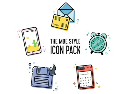 MBE Style Icon Pack Vol.3 email icon calculator icon download icons mobile icon clock icon mbe style mbe icons pack icon set icons illustration