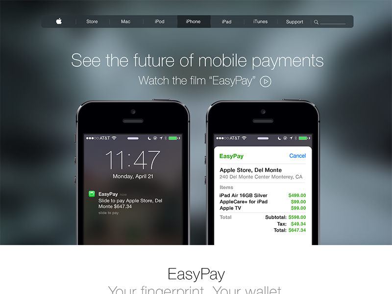 EasyPay - Touch ID Payment System - Concept touch id mobile payments ios 8 ios 7 iphone 6 easypay wireless payments wallet ios 8 concept ios concept payments concept applepay