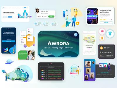 Awrora Multipurpose Landing Page widgets blockchain agency saas website ui ux illustration corporate homepage landing page