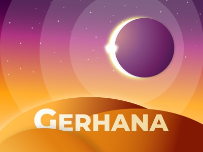 Gerhana design landing page sun artwork banner branding logo imagination sky illustration