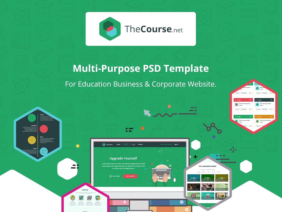 TheCourse - Multipurpose Education Wen Template landing page homepage website collage smart vintage training school retro online course old school library learning green education e-learning course corporate
