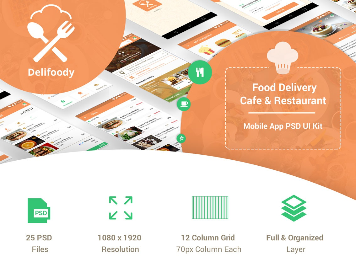 Delifoody - Food Delivery & Restaurant Mobile UI Kit curry yellow tasty pizza delivery app online app cafe android android app mobile ui mobile app ux ui app design restaurants culinary food