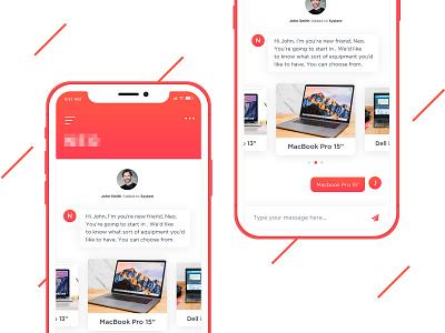 Chat Bot ECommerce Mobile App uiux homepage interfeace application web app design color imhassanali modern bot iphone app design chat message mobile app ios app ui ux ecommerce chatbot