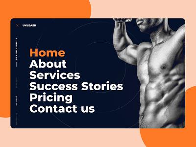 Fitness Website Menu imhassanali interaction full menu side menu mobile app web app fitness app builder gym home social media landing website fitness design ui ux minimal clean modern