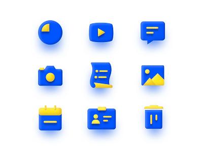 Icons set for Social App imhassanali neumorphism vector flat art web design colors web app ios social app icons set icons minimal isometric branding ui ux illustration clean