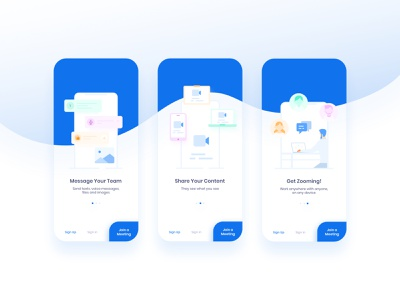 Zoom Onboarding Redesign soft blue join call web voice team popup camera meeting zoom flat app mobile app ux ui minimal illustration clean modern