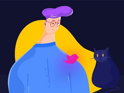 Illustration for Website cartoon uiux web application imhassanali charachter cat procreate webdesign webiste app mobile app design color ux minimal ui illustration modern clean