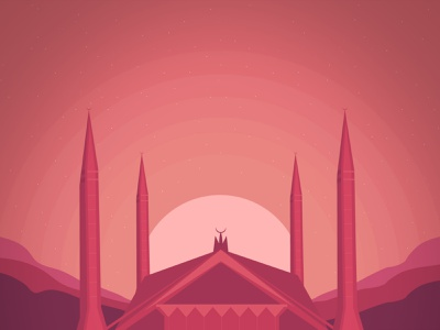 Shah Faisal Mosque Illustration -  Masjid landing page website pakistan muslim islam masjid mosque stars lights procreate app color mobile app ux imhassanali minimal ui illustration modern clean
