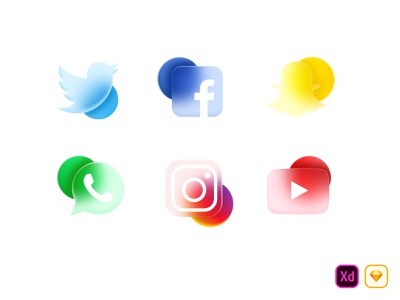 Free Frosted Glass Effect Social Media Icon-Imhassanali freedownload free instagram youtube whatsapp snapchat facebook social media design social design app color mobile app ux imhassanali minimal ui illustration modern clean
