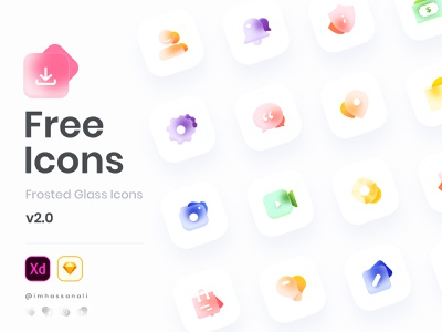 Freebie Frosted Glass Icons Set Freedownload for XD and Sketch landingpage website procreate setting frosted glass free freedownload freebie iconset icons app color mobile app ux imhassanali ui minimal illustration modern clean