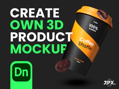 How to Create own 3D Product Mockup in Adobe Dimension themes free resources freebie dimension free mockup freedownload free color logo branding the2px imhassanali ui modern clean