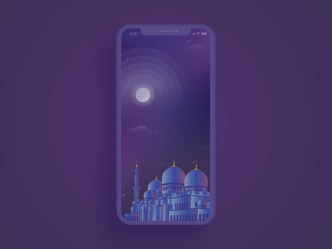 Sheikh Zayed Mosque Illustration mobile app masjid islam dubai app iphonex color onboarding dark digital mo moon night mobile ui vector clean illustration modern mosque