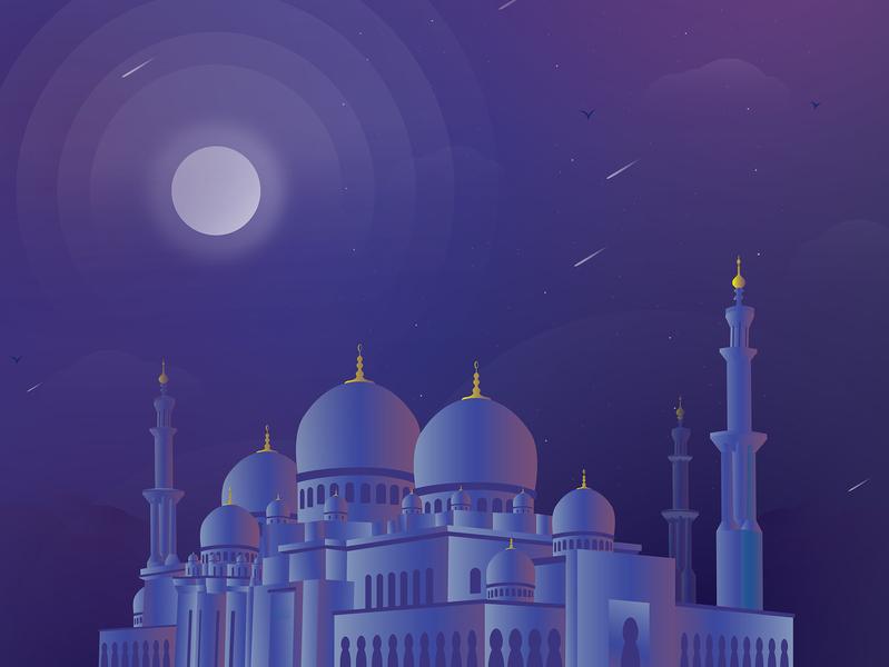 Shiek Zayed Mosque Illustration for Mobile App gradient color ux mobile moon masjid night clean ui modern illustration
