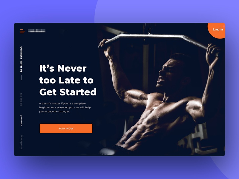 Fitness Website Homepage Header design clean color orange dark call to action layout landing page modern website ux ui workout gym fitness