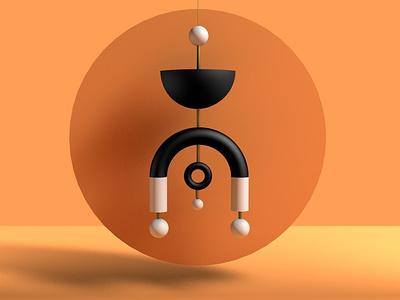 Orangish abstract art design adobedimension adobe photoshop 3d cinema4d
