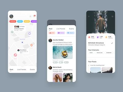 Social Interaction App uiux mnimalist social app interaction card app design app design ux ui