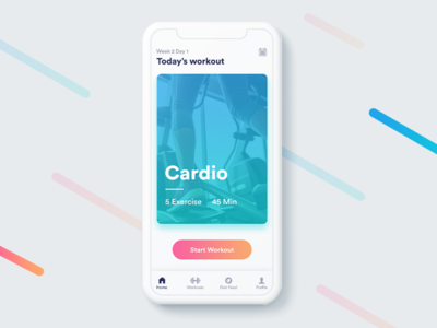 Fitness App - Today's Workout user experience user interface app design ux ui