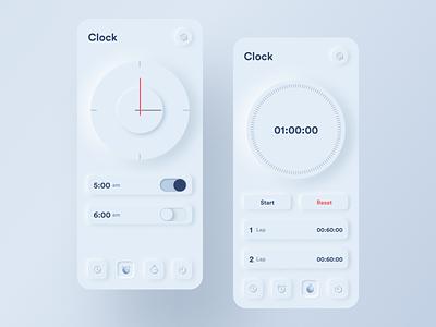 Skeuomorph Clock App trending alarm app minimal clean user experience ux ui ui design skeuomorphism app designer app app design clock app alarm clock skeuomorph stopwatch alarm clock